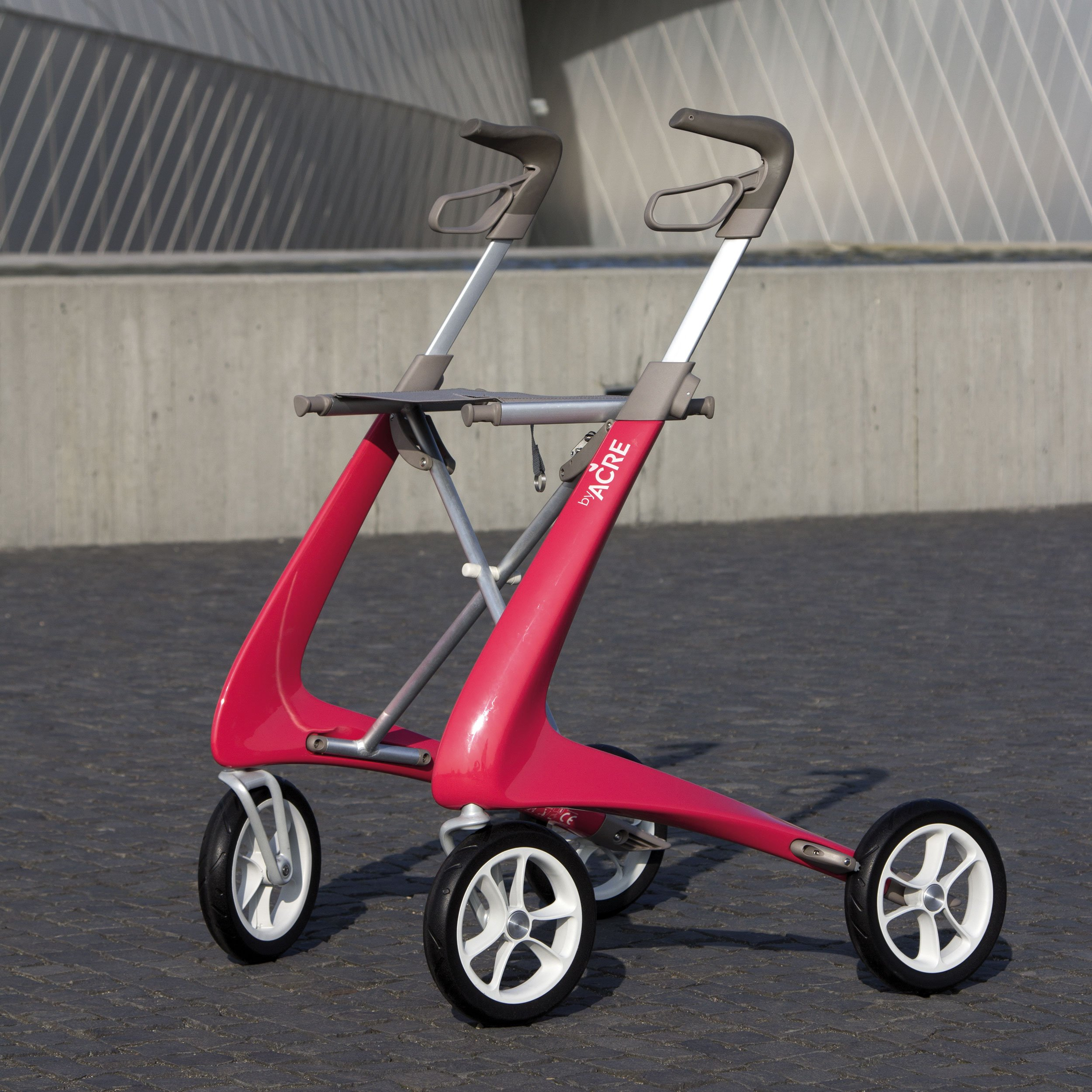 Red Carbon Ultralight Rollator byACRE - Seen in perspective at the Blue Planet in Copenhagen