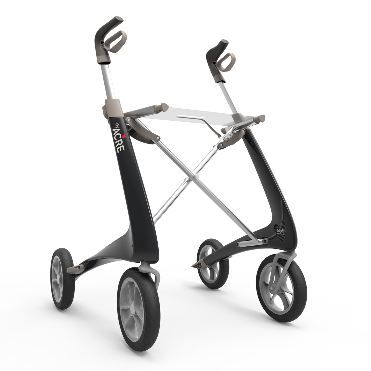 Carbon Ultralight Rollator in Carbon Black byACRE - seen in perspective