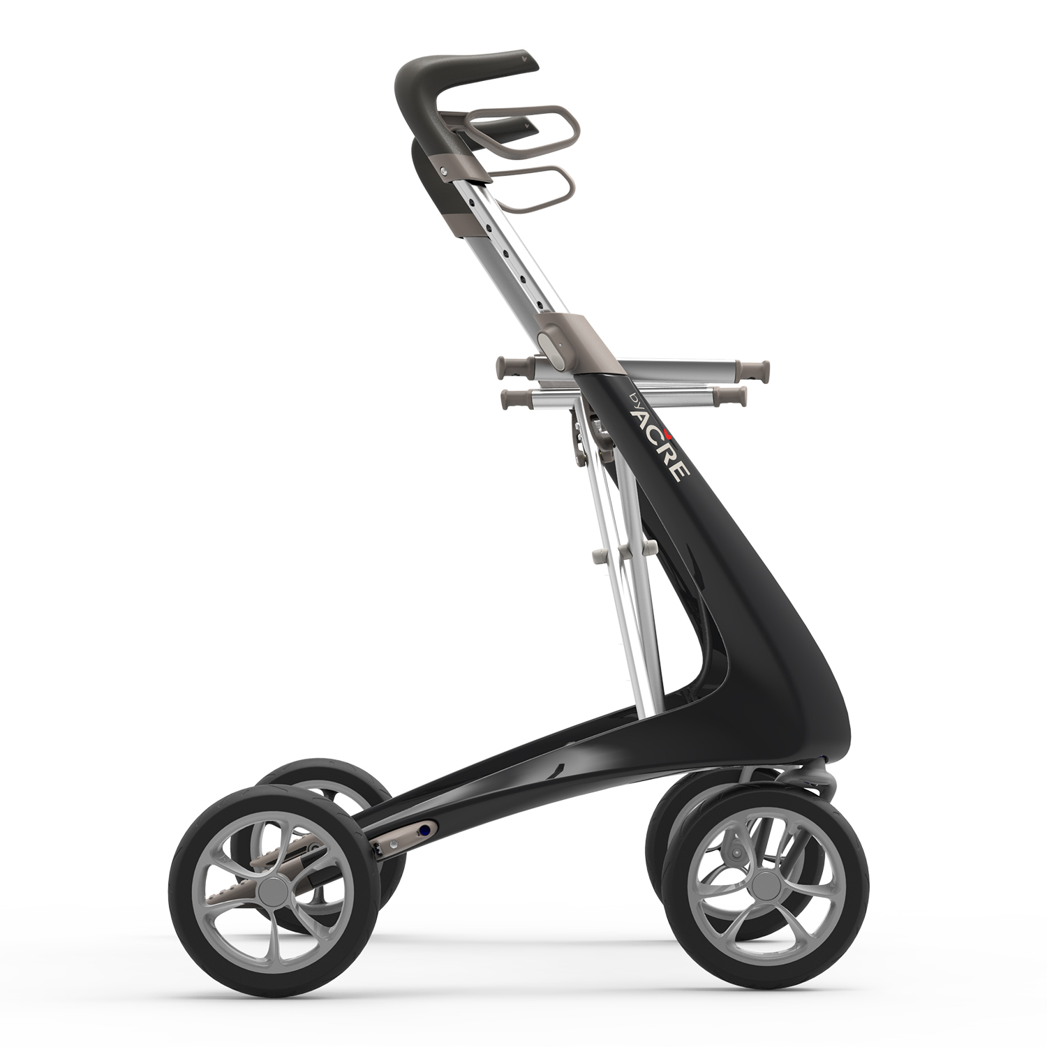 Carbon Ultralight Rollator in Carbon Black byACRE - seen in profile
