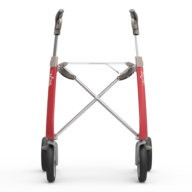 Carbon Ultralight Rollator in Strawberry Red byACRE - seen from the front