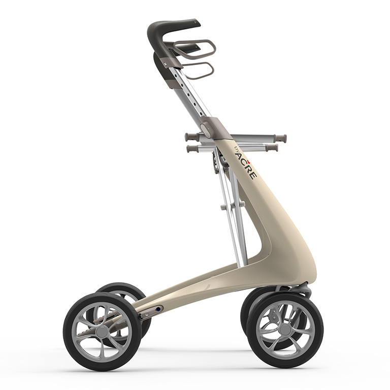 Carbon Ultralight Rollator in Oyster White byACRE - seen in profile