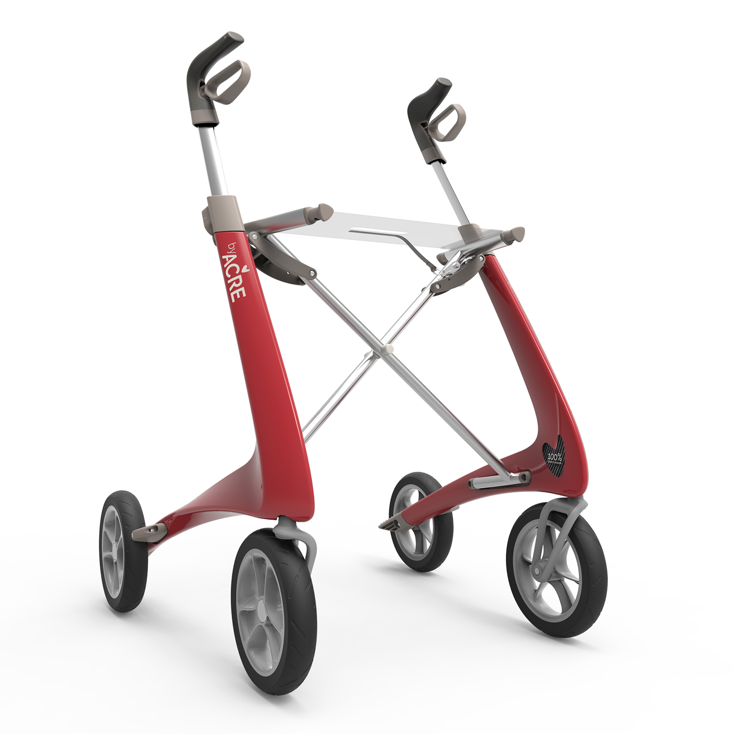 Carbon Ultralight Rollator in Strawberry Red byACRE - seen in perspective