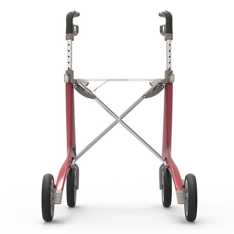 Carbon Ultralight Rollator in Strawberry Red byACRE - seen from the back