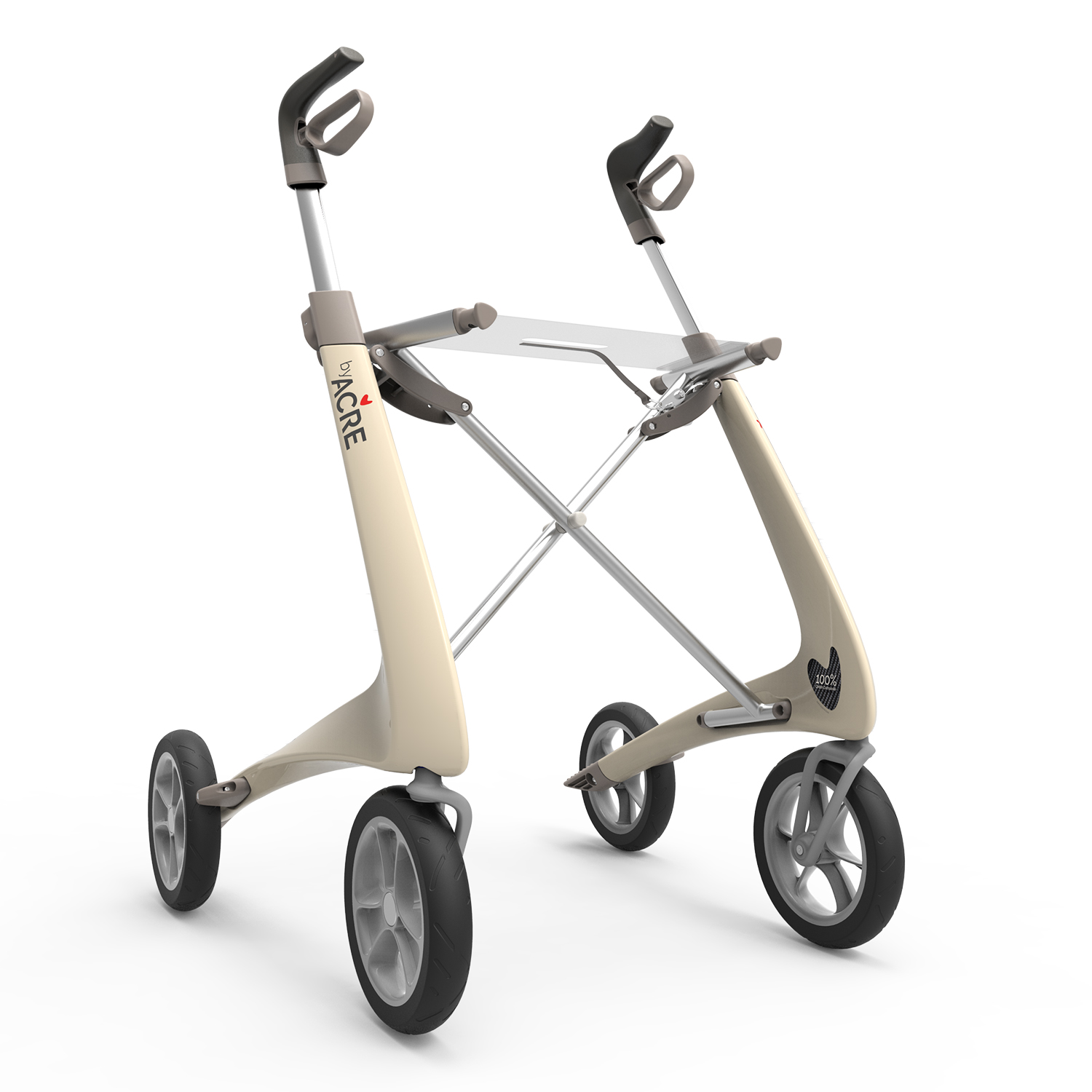 Carbon Ultralight Rollator in Oyster White byACRE - seen in perspective