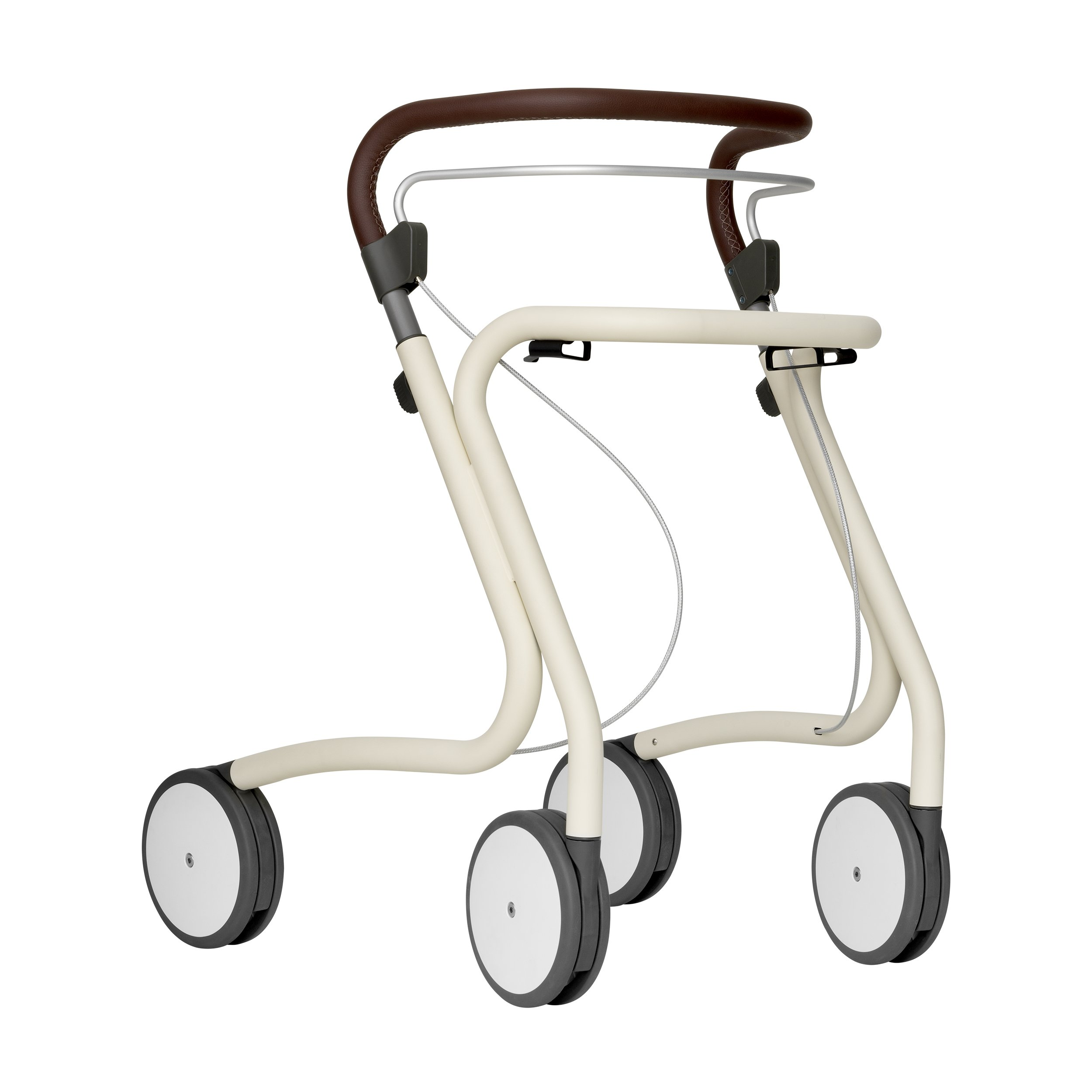Scandinavian Butler Rollator in Oyster White - seen in profile