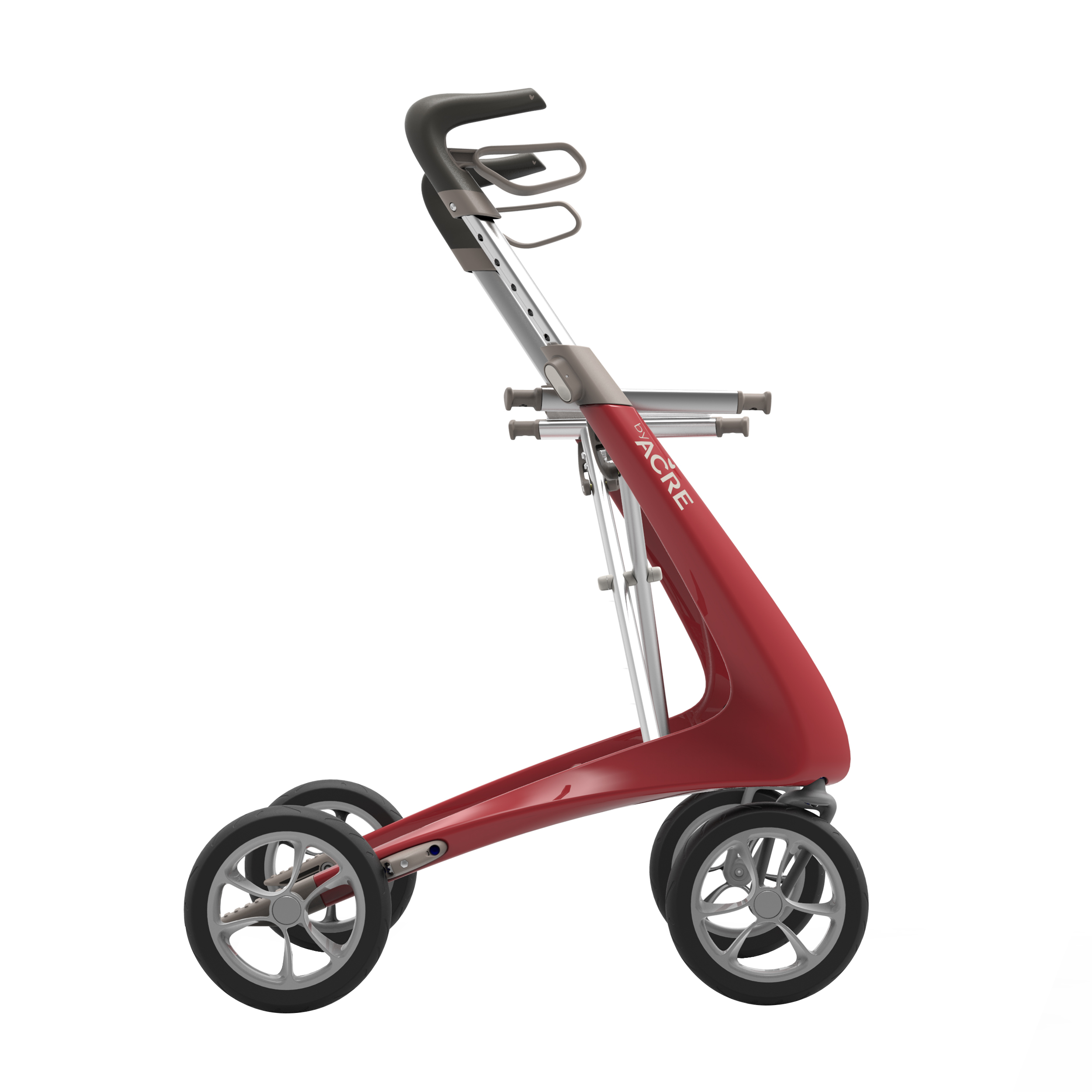 Carbon Ultralight Rollator in Strawberry Red byACRE - seen in profile
