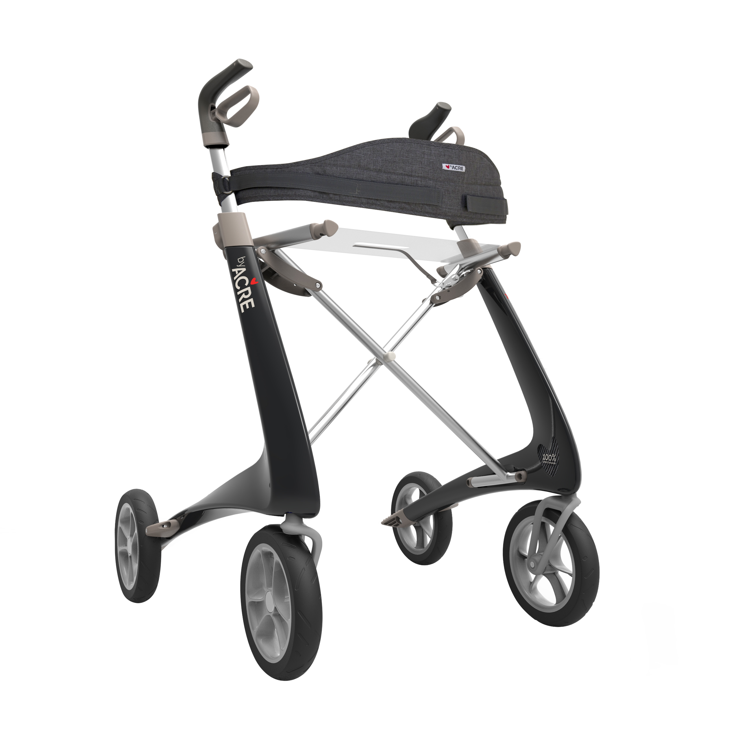 Backrest on the black Carbon Ultralight Rollator byACRE - seen in perspective