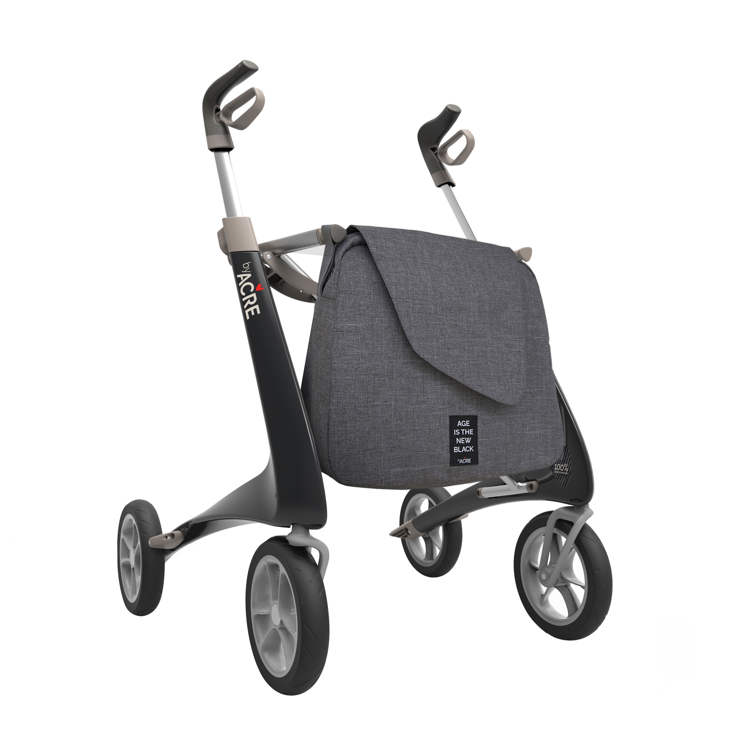Shopper bag on the black Carbon Ultralight Rollator byACRE - seen in perspective