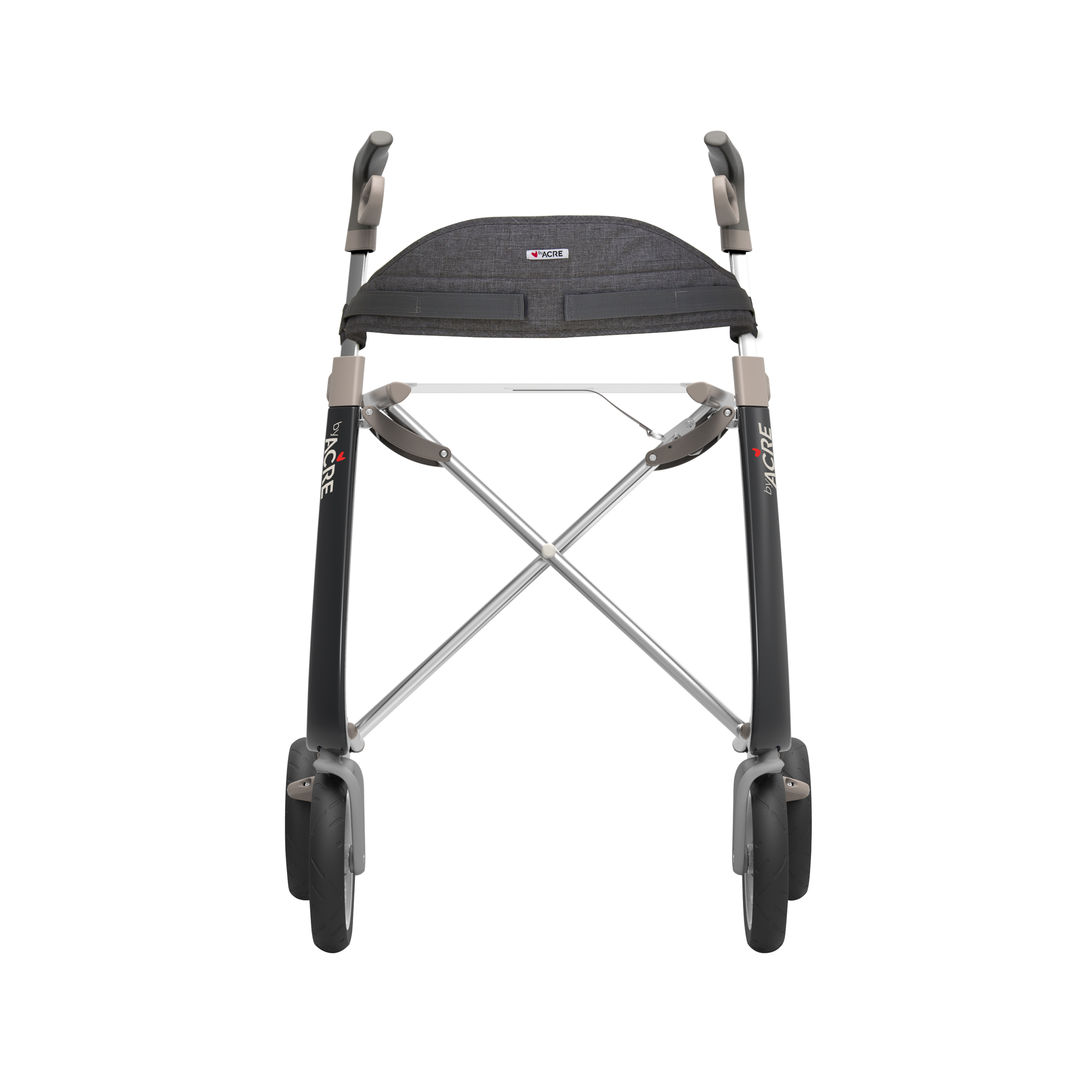 Backrest on the black Carbon Ultralight Rollator byACRE - seen from the front