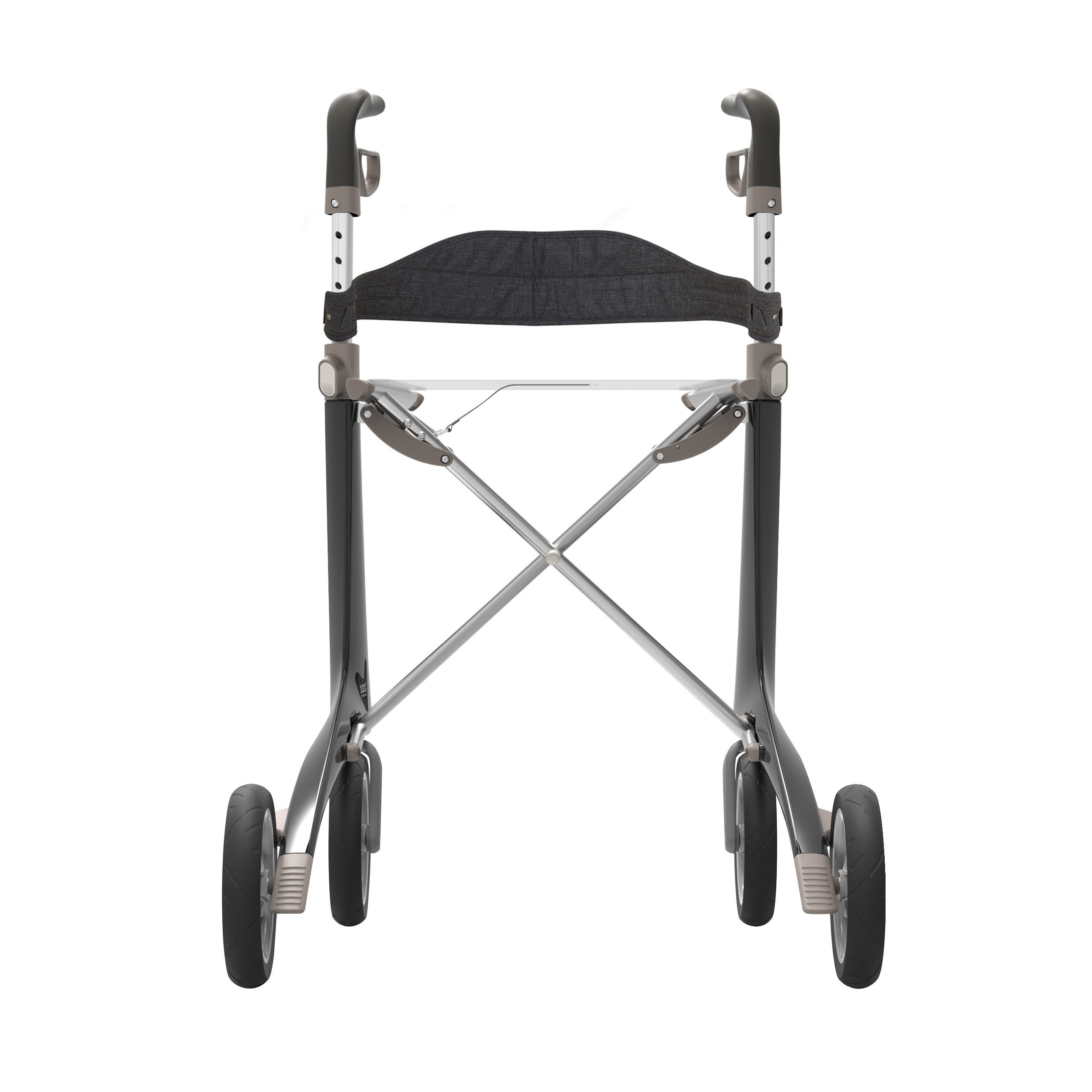 Backrest on the black Carbon Ultralight Rollator byACRE - seen from the back