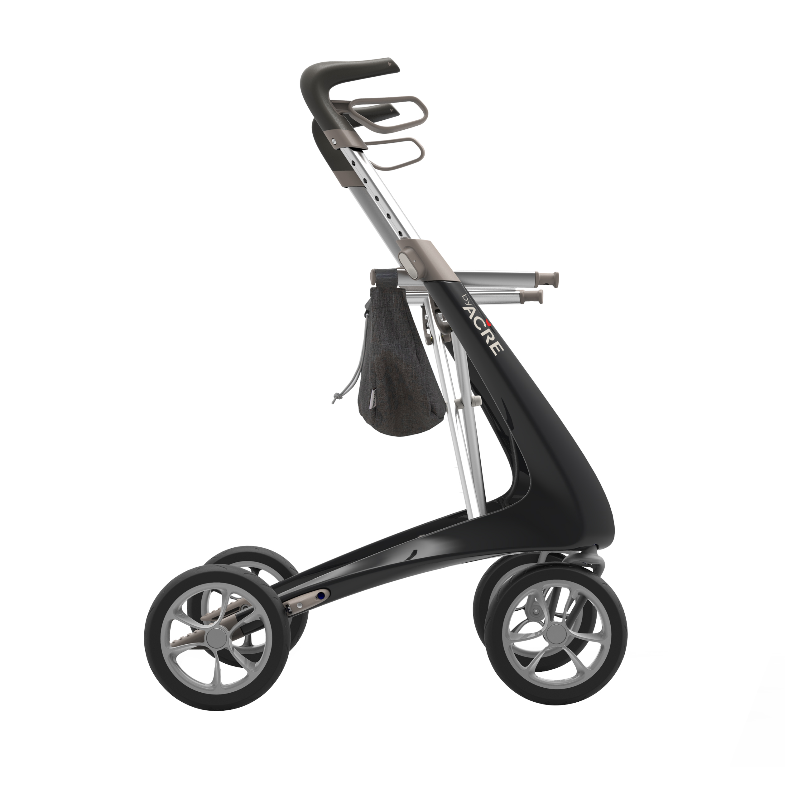 Small Organiser Bag attached on Carbon Ultralight Rollator in Carbon Black