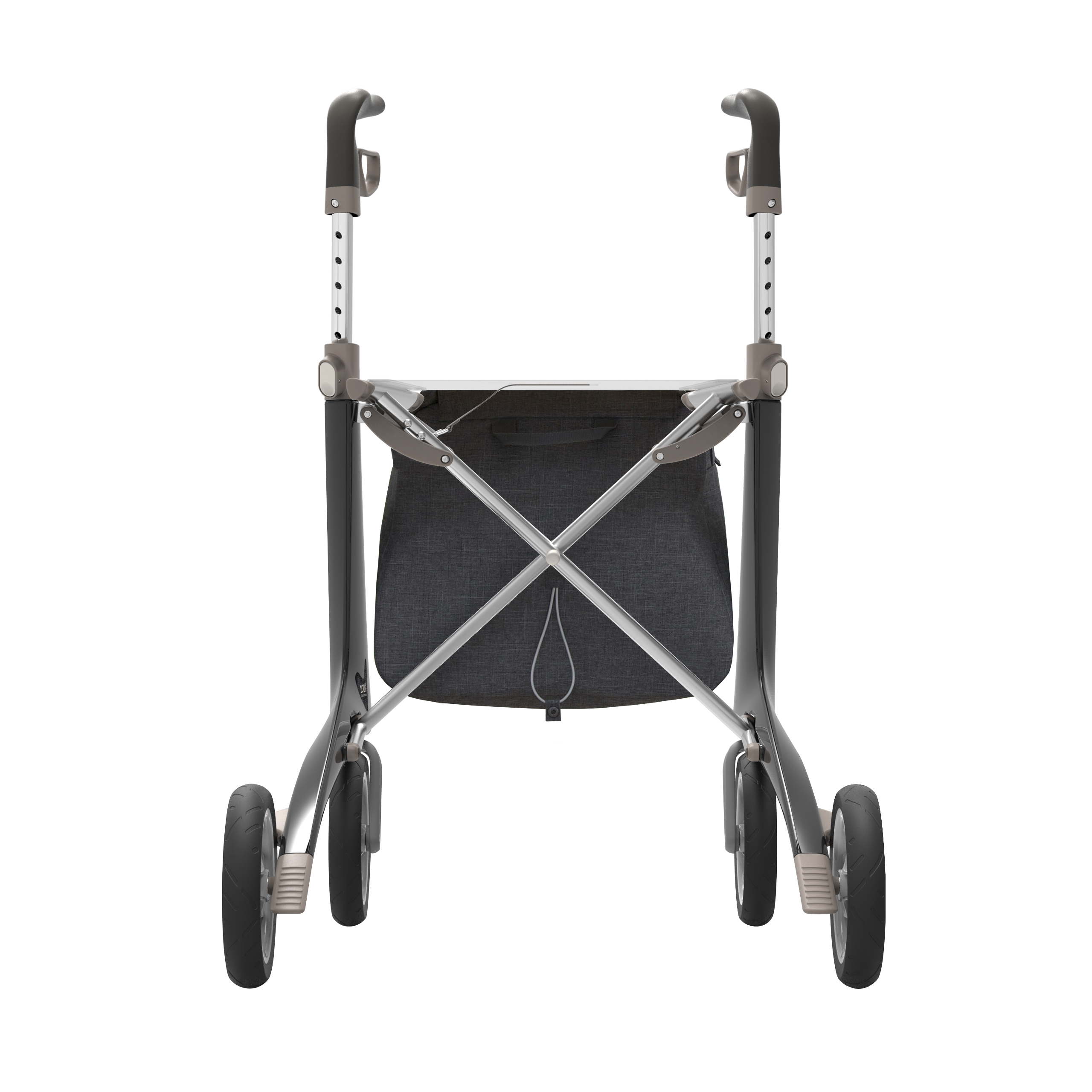 Shopper bag on the black Carbon Ultralight Rollator byACRE - seen from the back