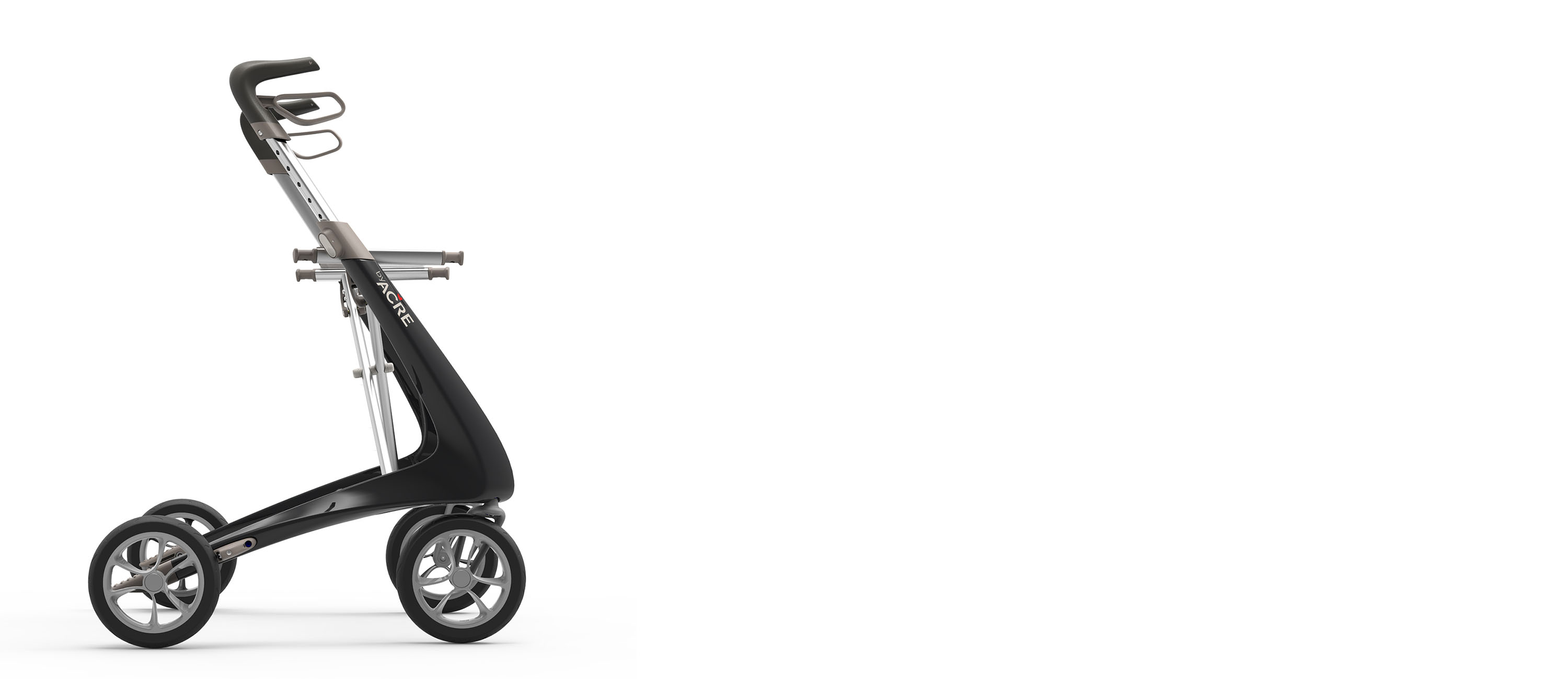 Black Carbon Ultralight Rollator byACRE - seen in profile