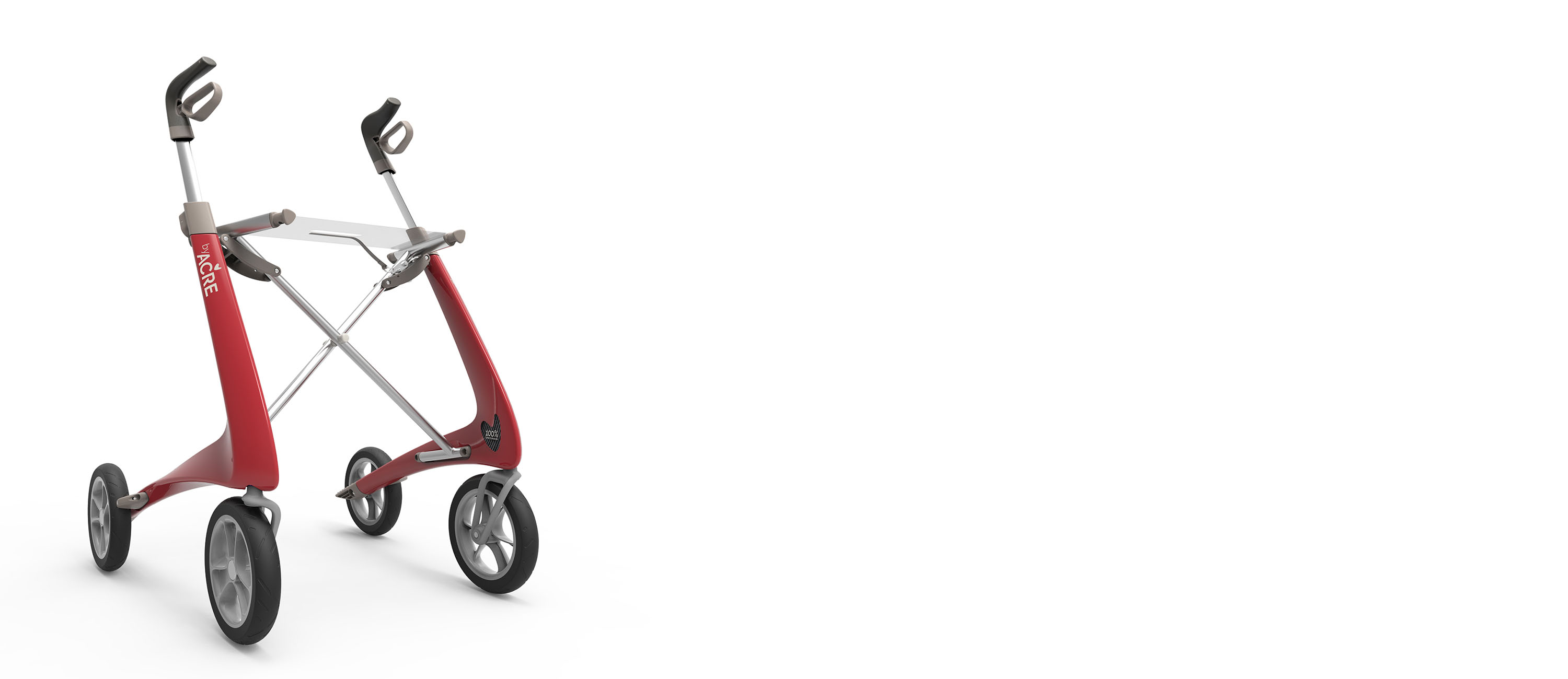 Red Carbon Ultralight Rollator byACRE - Seen in perspective