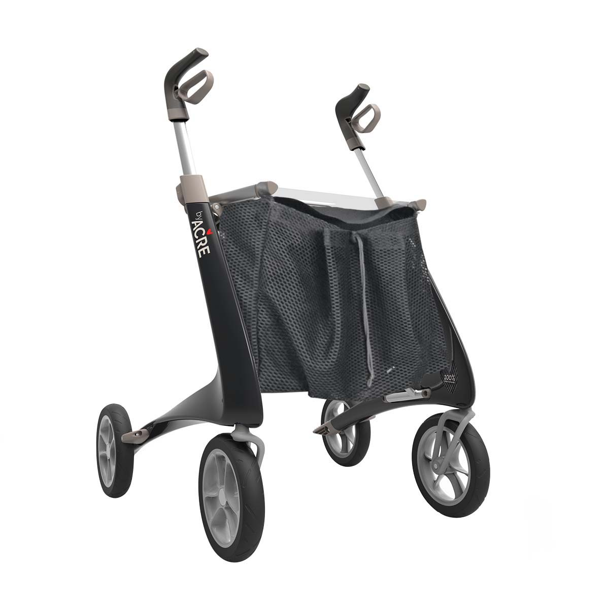 Sort Carbon Ultralight rollator med indkøbsnet