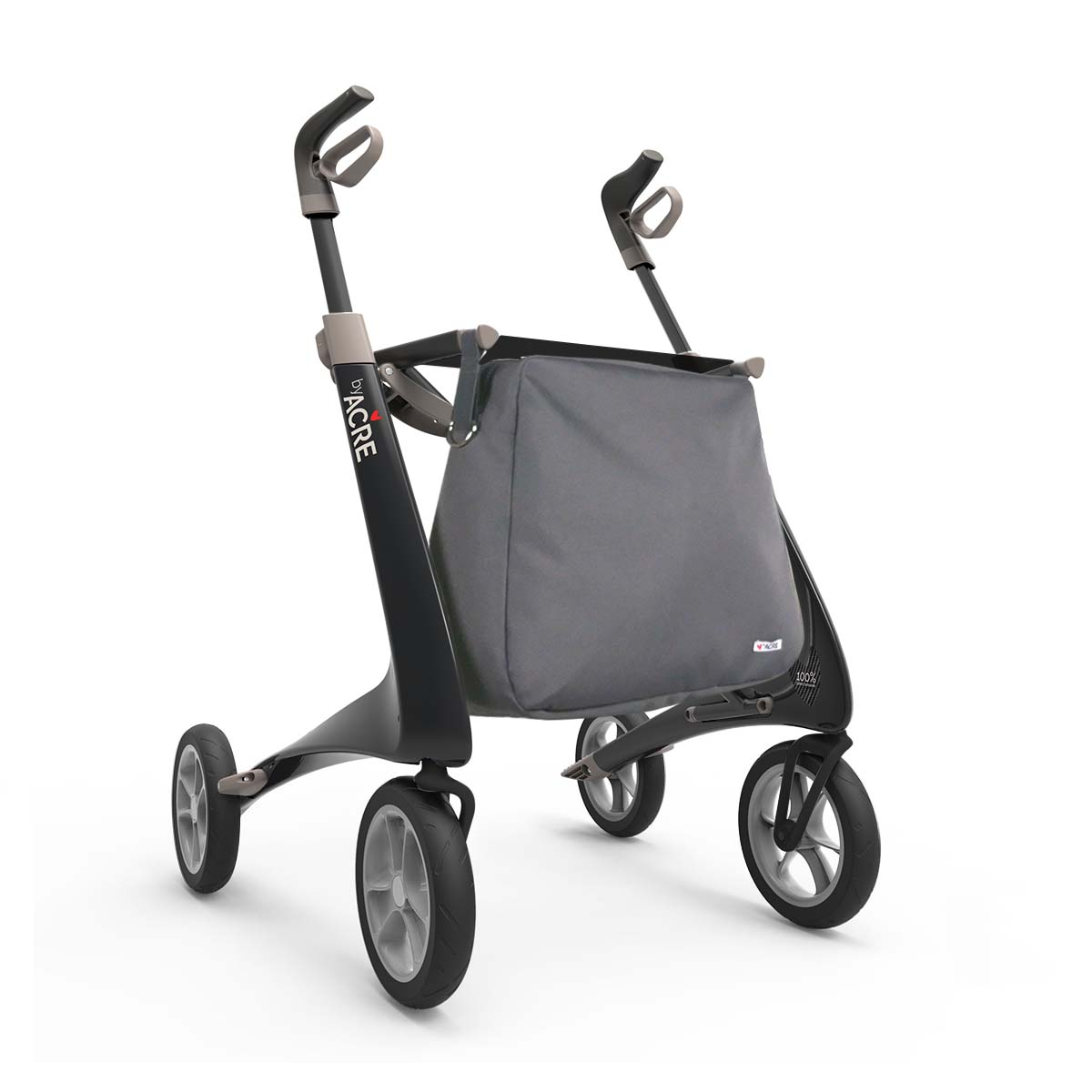 Weekend bag on the Black Carbon Ultralight Rollator byACRE - seen in perspective