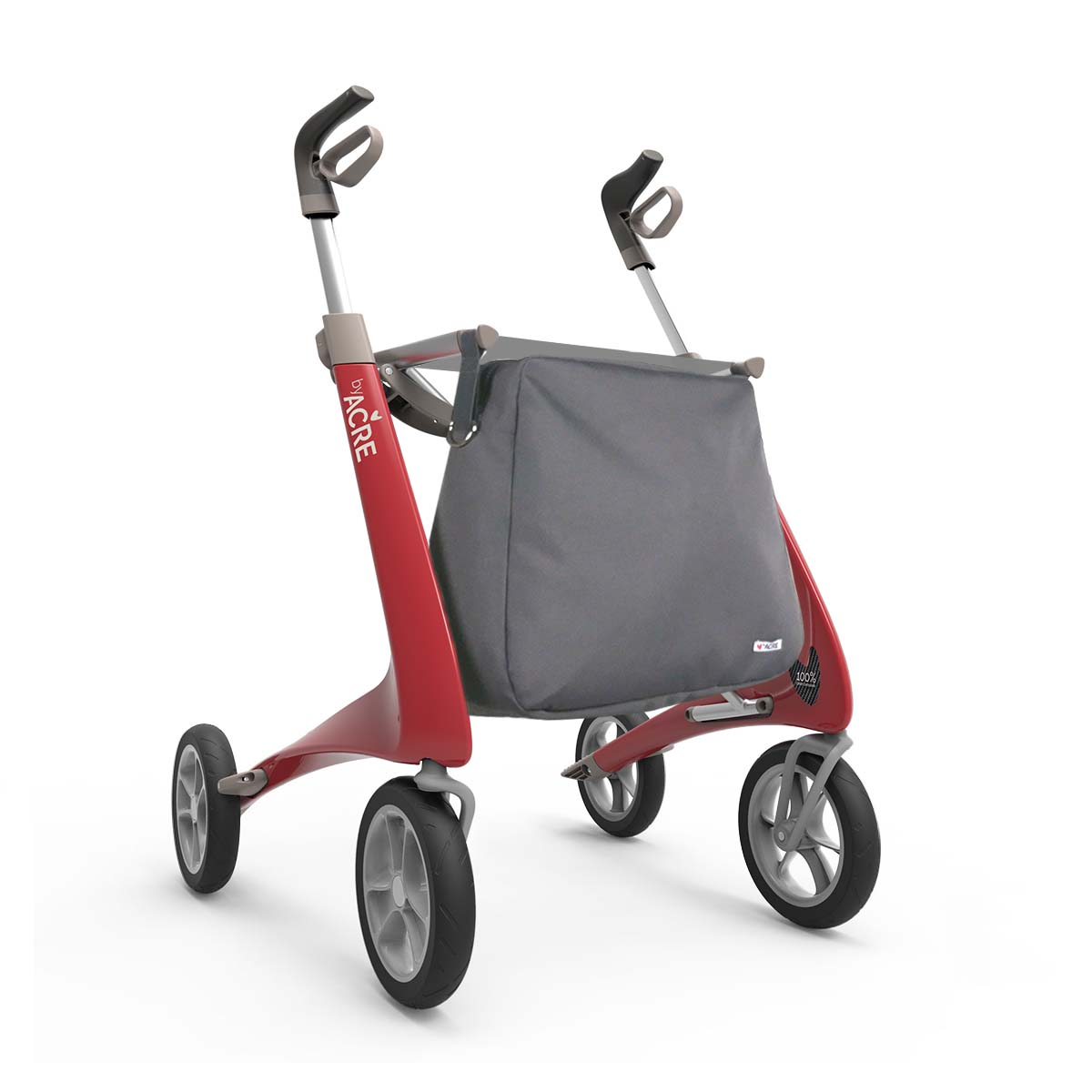 Weekend bag on the Red Carbon Ultralight Rollator byACRE - seen in perspective