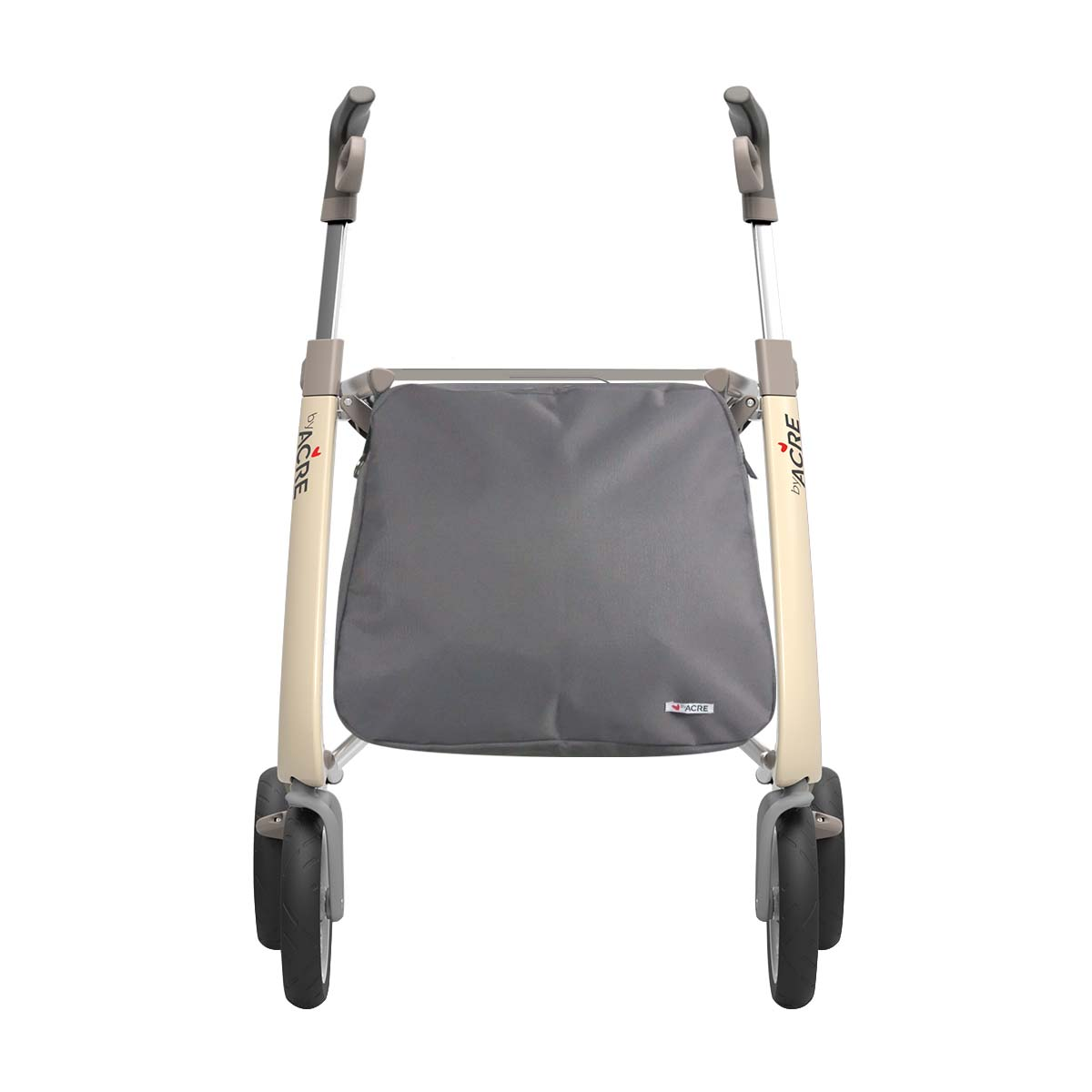 Weekend bag on the white Carbon Ultralight Rollator byACRE - seen from the front