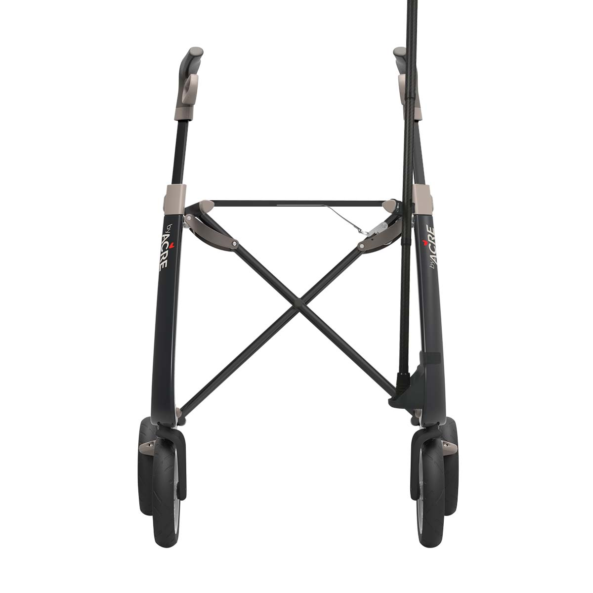Cane holder for the right side attached to the black Carbon Ultralight rollator - with cane - seen from the front