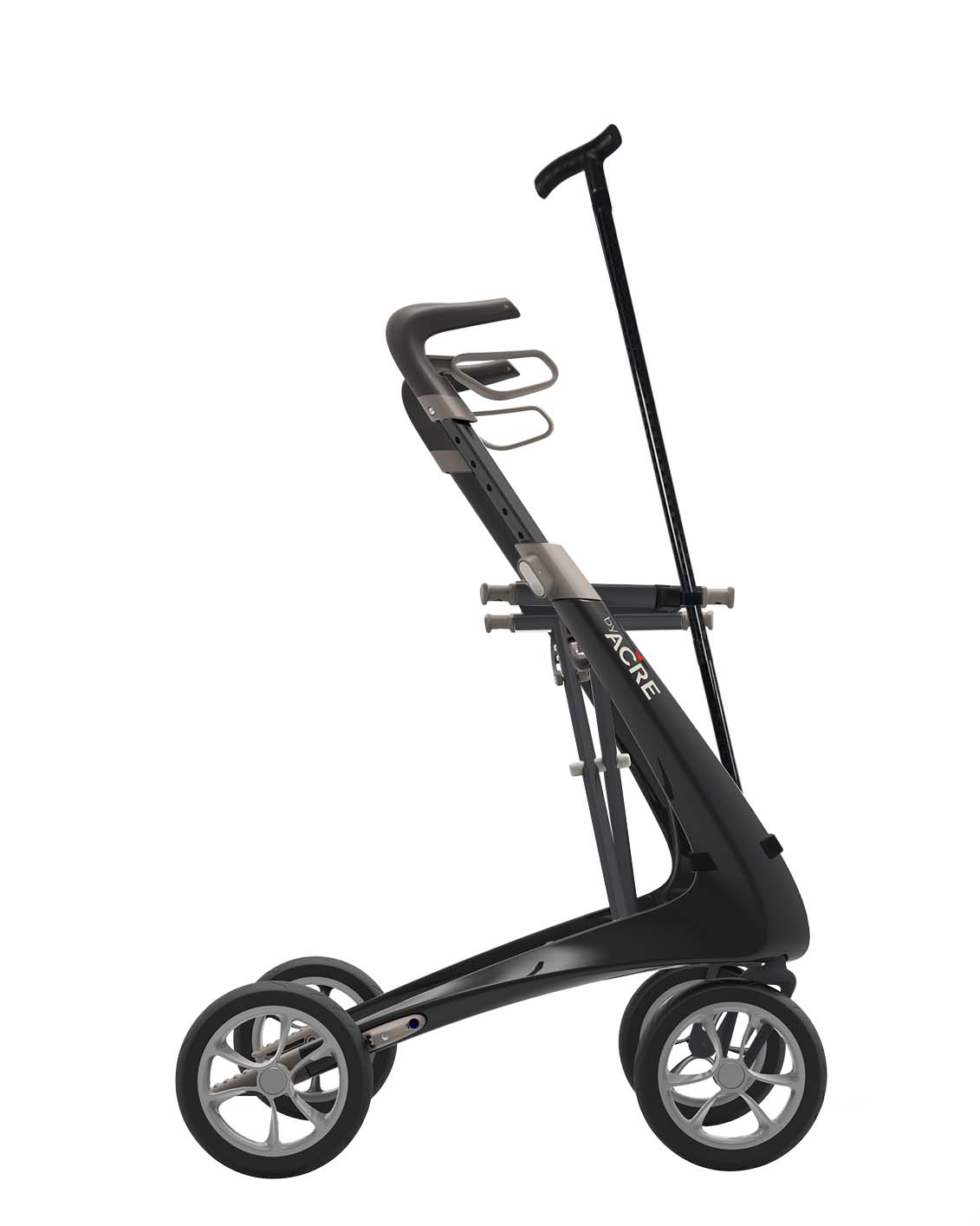 Cane holder on the Black Carbon Ultralight Rollator with a cane byACRE - viewed in profile