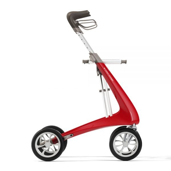 CarbonUltralightRollator-WideTrack-Red-Profile-Right-Shadows-byACRE